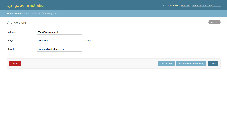 Django admin create, update, delete record options