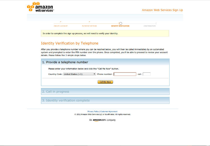 Set up Amazon Web Services (AWS) free usage account, Getting