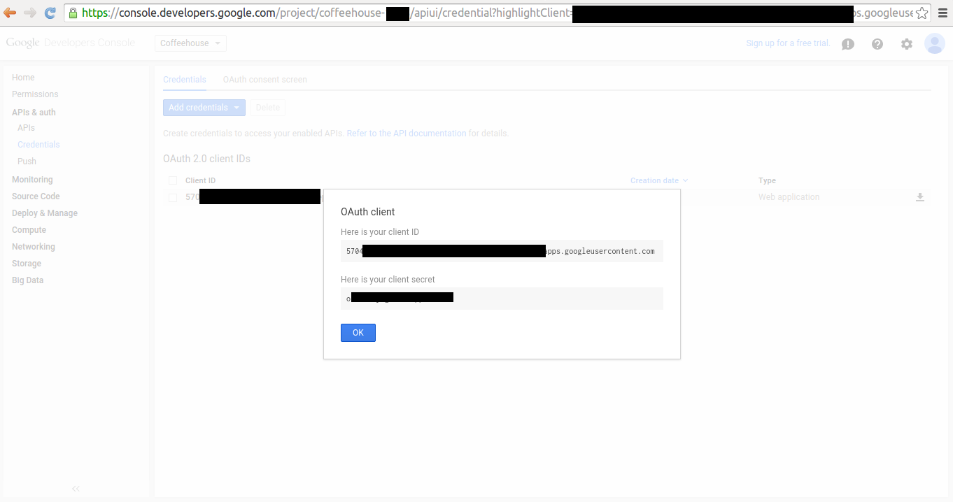 Google project Client ID and Client Secret