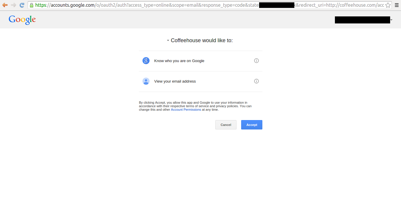 Google social authorization page