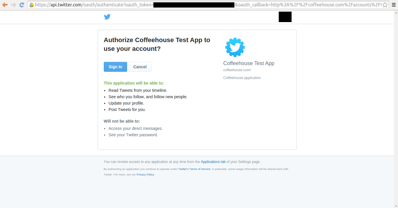 Twitter social authorization page