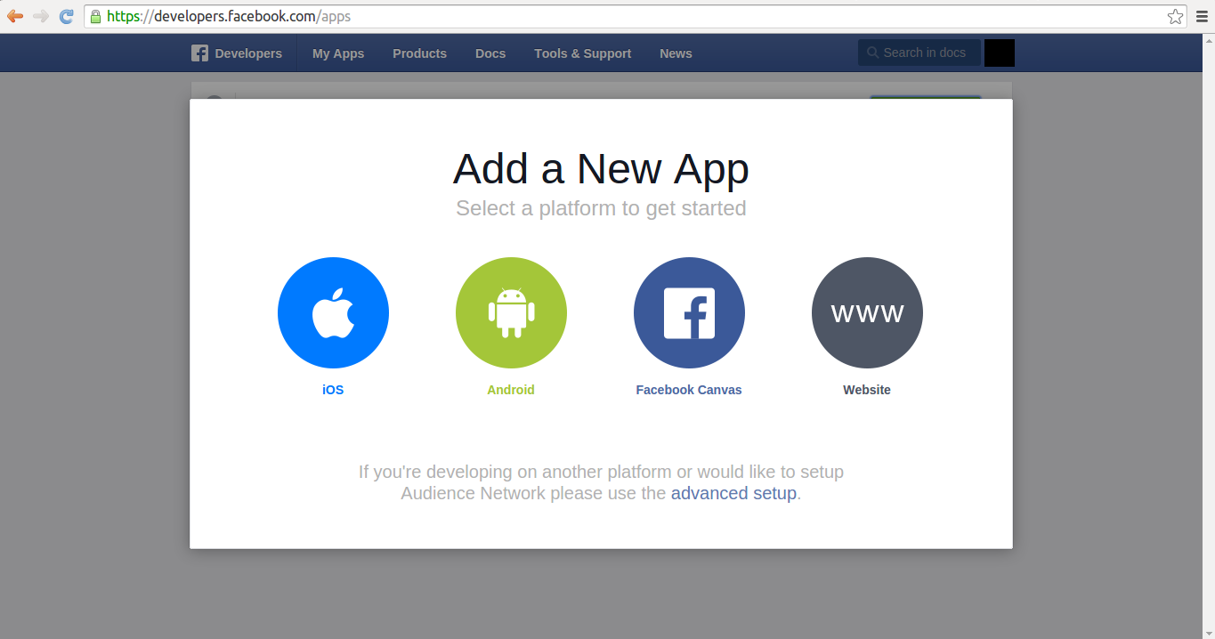 Facebook create application type pop-up