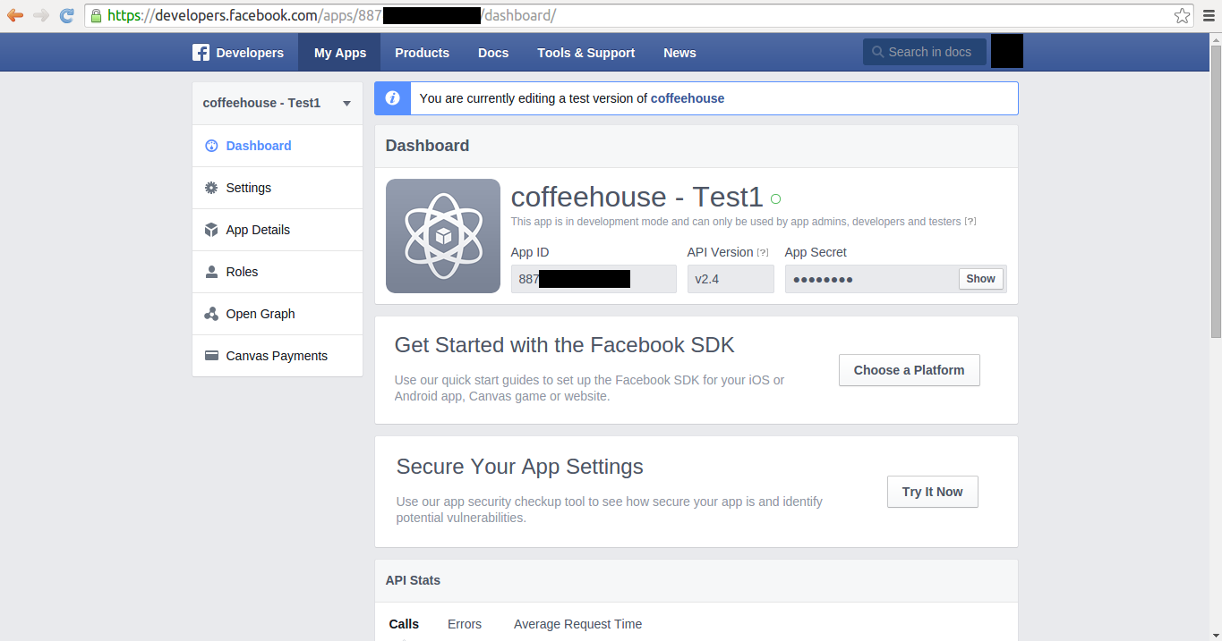 Facebook quick start website application