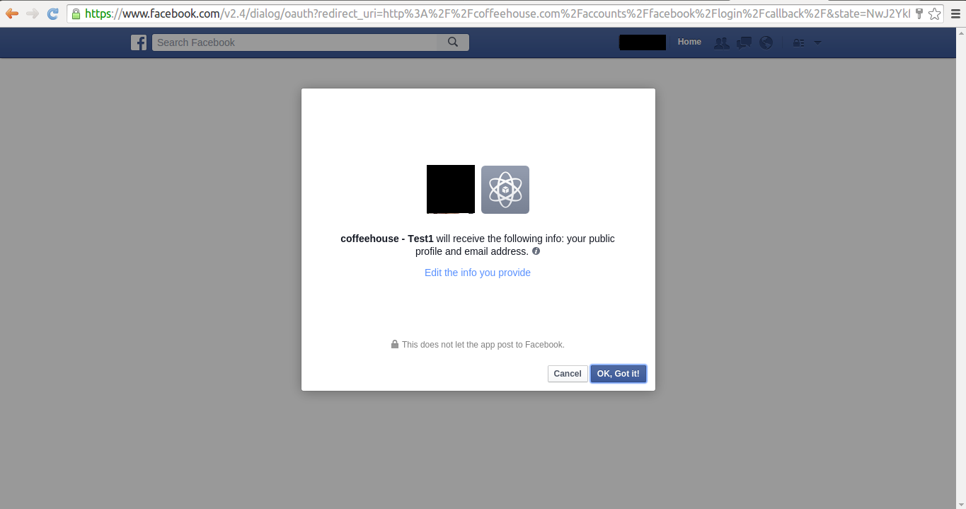 Facebook social authorization pop-up