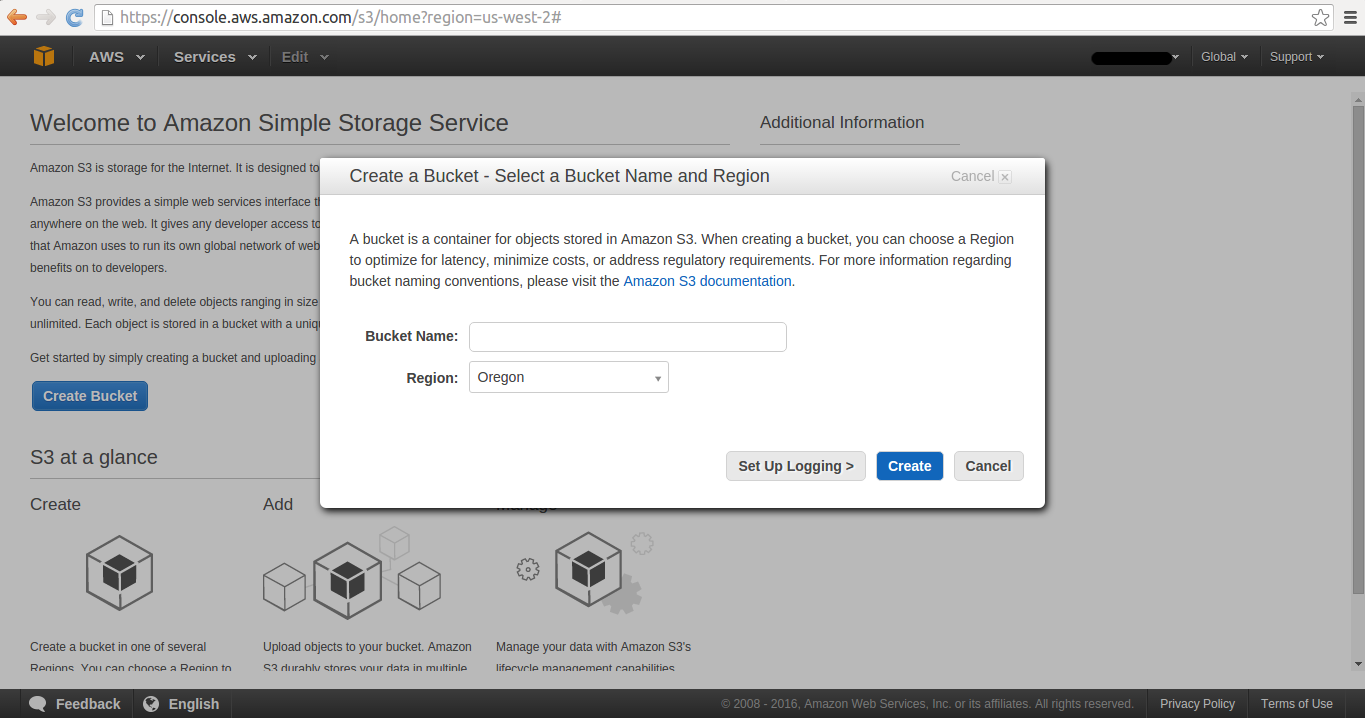 AWS S3 create bucket pop-up